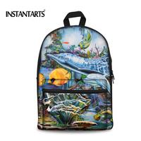 INSTANTARTS 2018 Handle Painted Women School Bags Canvas Backpack for Teenager Girls 3D Tropical Fish College Students Rucksack