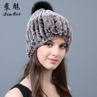 Real Rabbit Fur Hats Winter Women Pompom Russian Warm Female Beanie Elastic Genuine Fur New 2018 Real Rabbit Fur Caps Hats