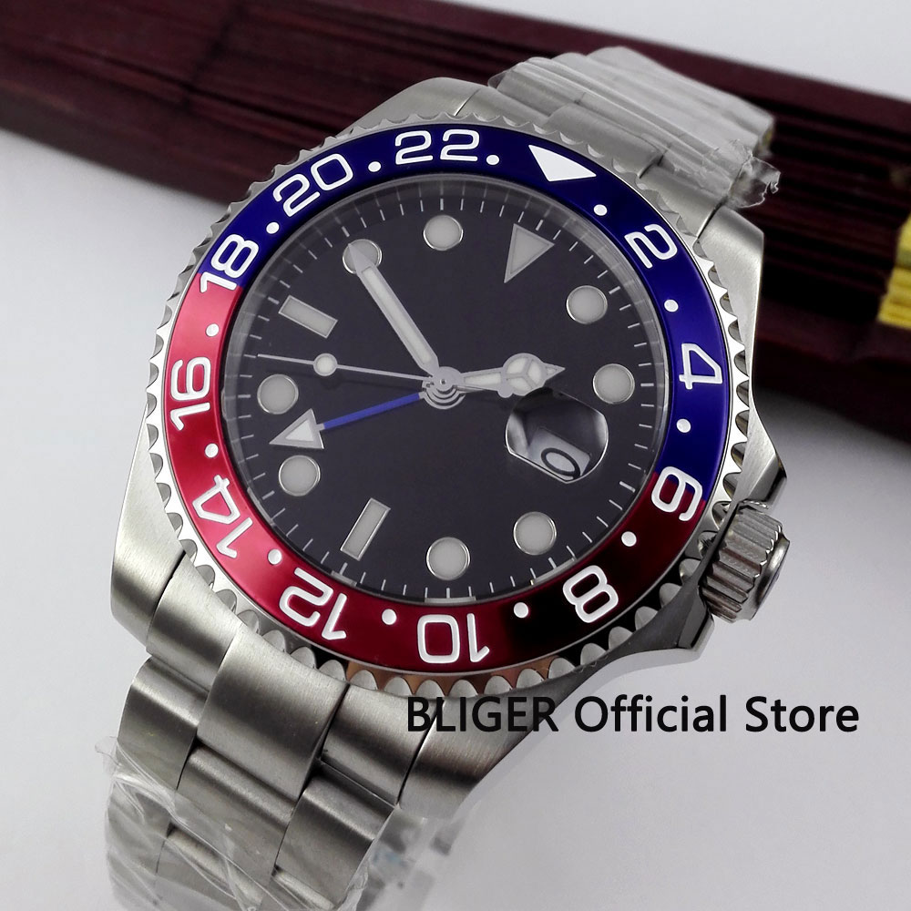 BLIGER 43MM Black Sterile Dial Blue Red Bezel GMT Function Luminous Sapphire Crystal Automatic Self-Wind Movement Men's Watch
