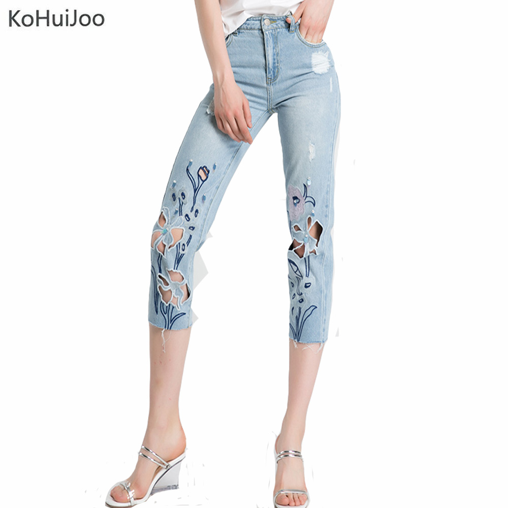 KoHuiJoo Women Summer Jeans Embroidered Flowers Rhinestone Hollow Out Jeans Pants Female Fashion Ripped Denim Capris