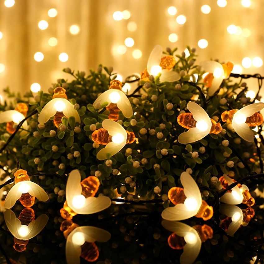10leds 20leds 30leds 40leds Honey Bee Led String Lights Outdoor Waterproof Garden Patio Fence Gazebo Light For Christmas Party