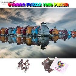 MOMEMO Waterfront Città Adulti Bellissimo Paesaggio 1000 Pezzi Di Puzzle di Legno di Puzzle del Giocattolo Di Puzzle Divertente FAI DA TE Per Adulti 1000 Pezzo di Puzzle