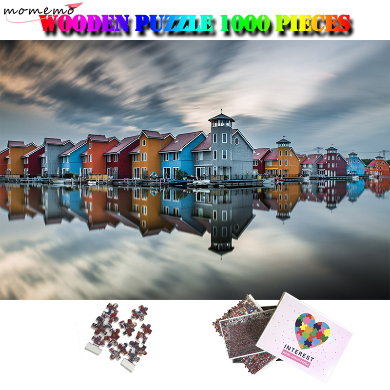 MOMEMO Waterfront Town Adults Beautiful Landscape 1000 Pieces Puzzle Wooden Jigsaw Puzzle Toy Funny DIY Adult 1000 Piece Puzzles image