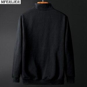 Image 3 - גברים של גודל גדול מעיל סתיו וחורף ארוך שרוול 6XL 7XL 8XL 9XL 10XL שחור אפור כותנה רוכסן גדול גודל מזדמן מעיל