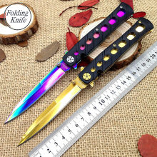 Folding Knife Pocket Cold Steel Blade 5CR15Mov Survival Knives Titanium coating Camping Tactical Hunting Knifes Outdoor Tools cd