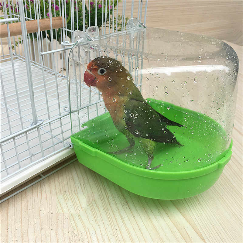 Pet Birds Cage Hanging Accessory Bowl Birdbath PVC 1pcs Pet Birds Cage Hanging Bathtub Small Bird Water Bath Tub