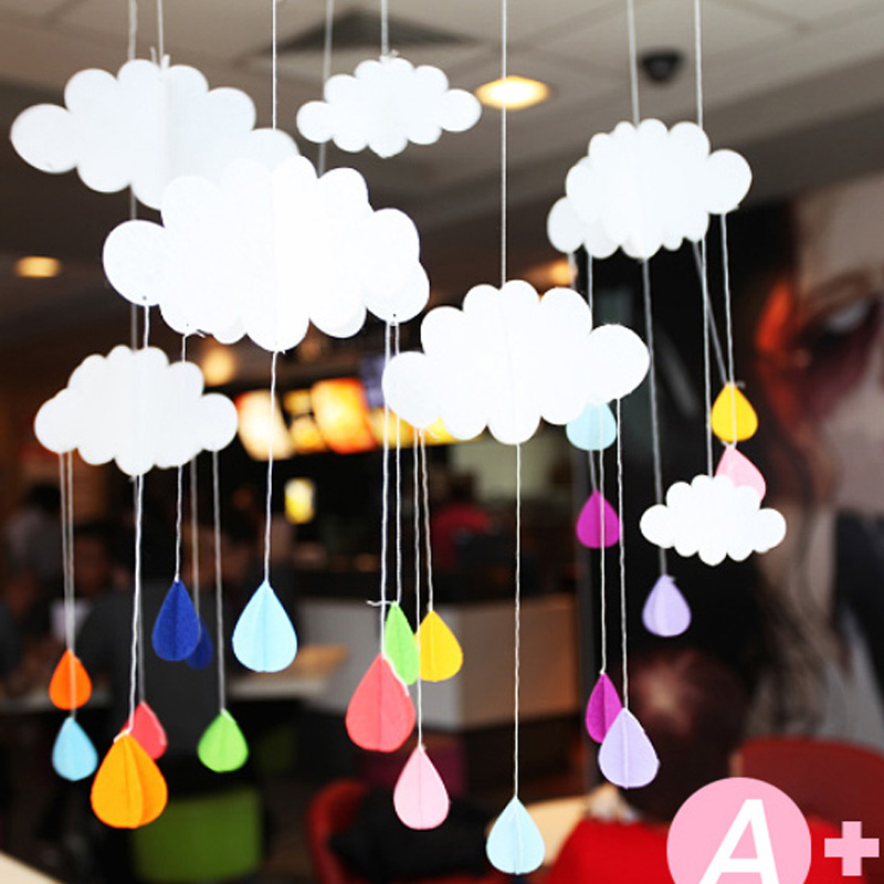 My First Room Toddler 3 Piece Room In A Box: 1pcs 3D Cloud Raindrops Small Decoration Ornaments Baby