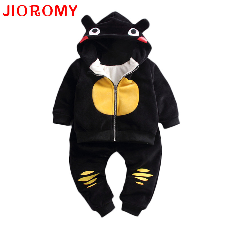JIOROMY Baby Bots Clothes Set 2017 Winter Zipper Leisure Hodded Cartoon Caot Thickening Jacket + Pants 2pcs Kids Clothing
