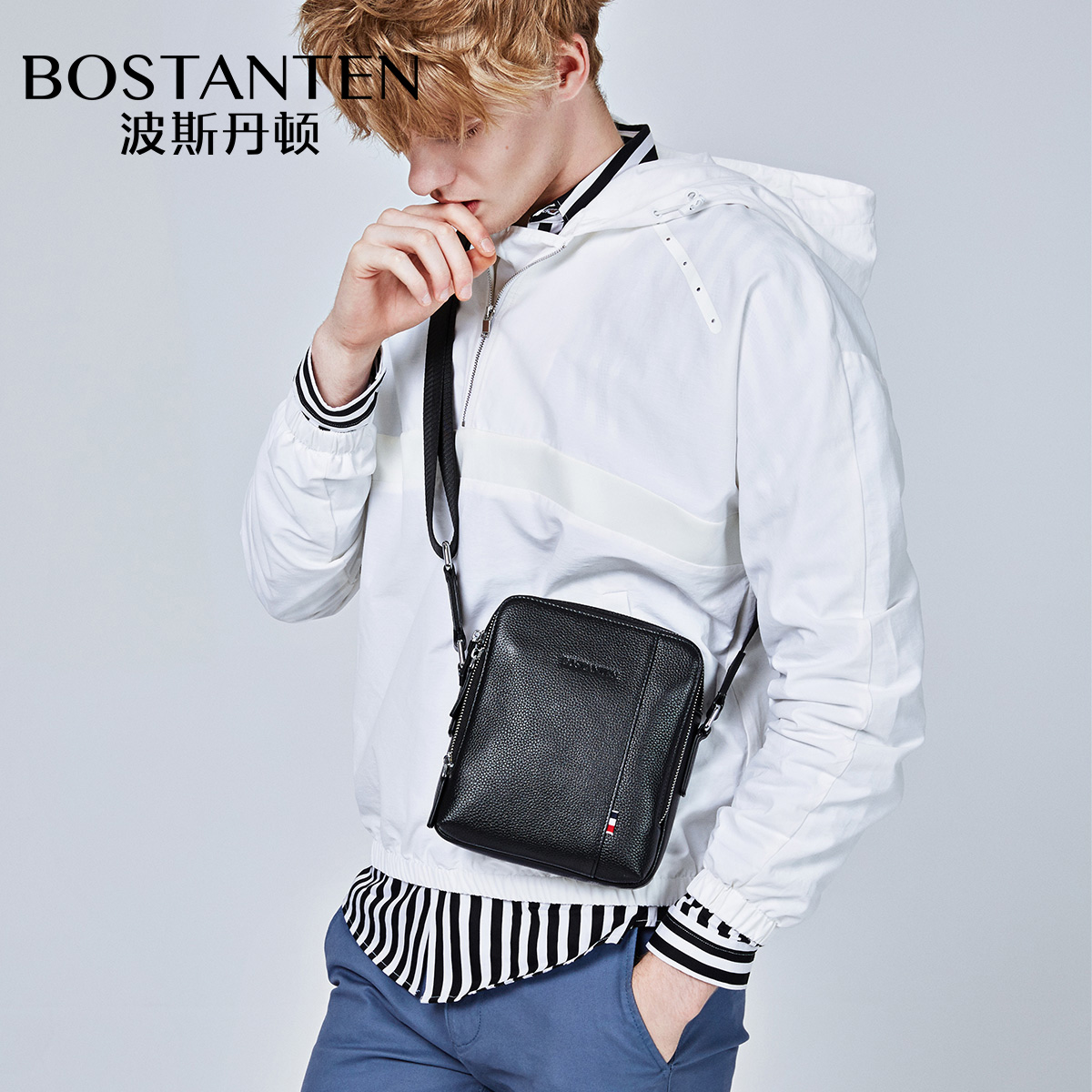 Bostanten Mini Single Shoulder Bag Mens Crossbody Genuine Leather Small Soft Casual Fashion Cow Leather Messenger Bags