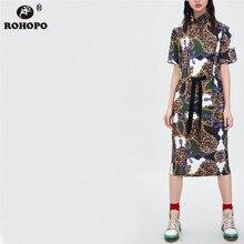 ROHOPO Leopard Printed Midi Dress Half Turtle neck Vintage Chain Vestido Sashes Bow Art Female Pleated #OYK8725