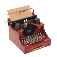 Retro Vintage Typewriter Music Box Hand Crank Musical Boxes Toys For Kids Birthday Gift Home Decor