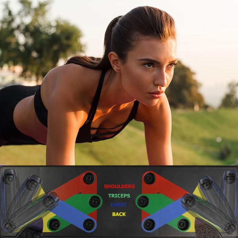 Push Up Rack Board 9 In 1 Body Building Fitness Exercise Tools Men Women Push-up Stands Body Building Training Gym Exercise