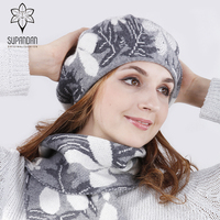SUPANDAN 2018 Winter Beret Angora Hat And Scarf Set Female Caps Thick Knitted For Women Winter