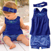 Baby Clothes 3PCS Royal Floral Clothing Sets Suits Cute Girls Vest tops+Shorts+Headband Clothes Outfits 2019 цена 2017