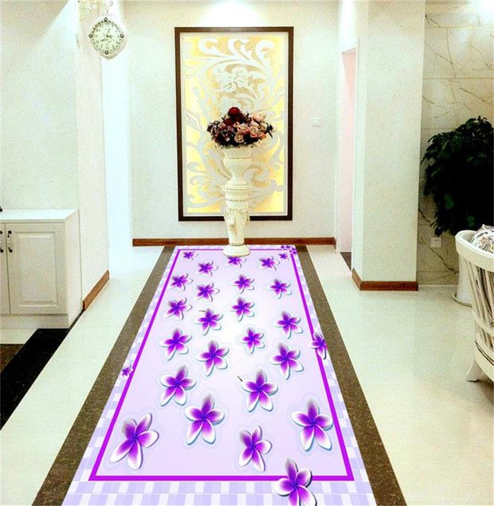 3d pvc flooring custom photo mural picture wall sticker Purple flowers 3D floor wallpaper for walls 3d room decoration painting customized 3d photo wallpaper 3d floor painting wallpaper 3 d stereo floor tile only beautiful flowers 3d living room decoration