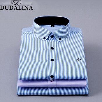 ee74e9ba7857e93 DUDALINA 2019 Мужская рубашка с длинными рукавами мужские классические  деловые рубашки в полоску брендовая Рабочая Рубашка мужская одежда для ве.