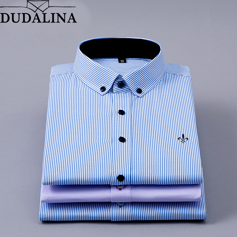 DUDALINA 2019 Men Shirt Long Sleeved Male Striped Formal Business Shirts Brand Work Shirt Man Party Cloths New Arrival