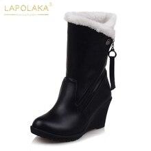 Lapolaka 2018 Plus Taille 30-52 Personnalisation D hiver Neige Bottes De  Mode Wedge Haute Talons femmes Chaussures de Femme mi -. 94b7c4129c0c