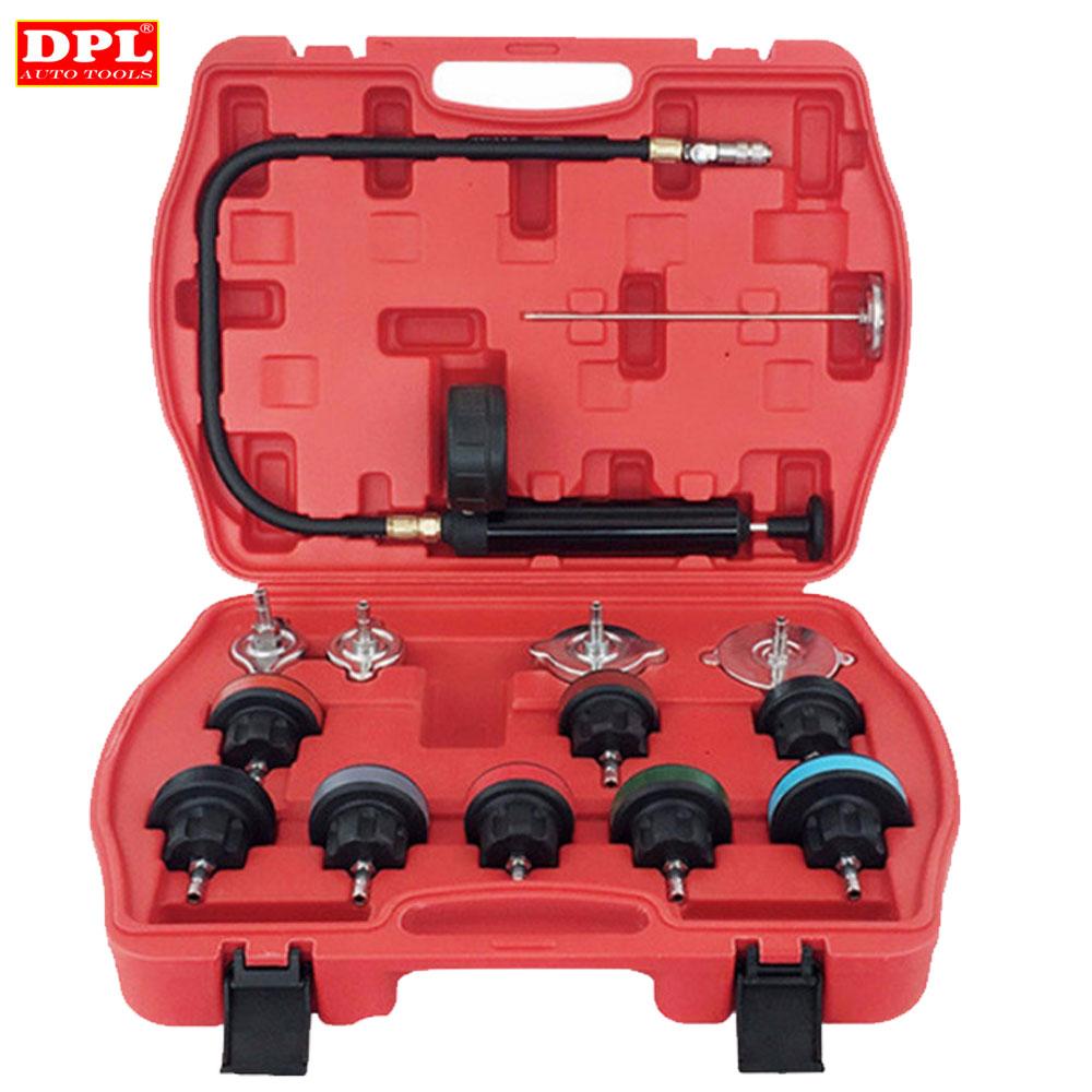 Universal Automotive Radiator Pressure Tester Kit 14PCS Car Leak Detector tool Auto Cooling System Coolant Vacuum Purge full set