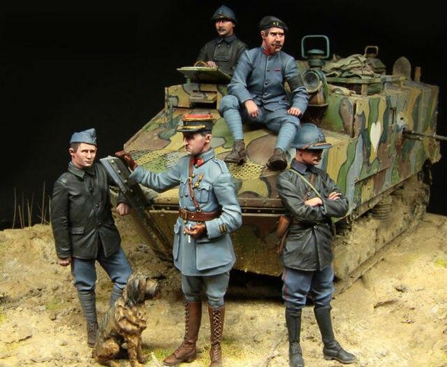 [Tuskmodel] 1 35 escala kit modelo de resina figuras WW1 Francês tanque tripulante GRANDE CONJUNTO de 5 figuras