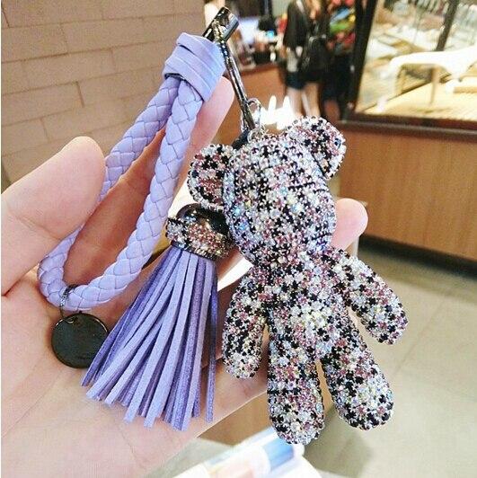 Luxury Cute Bling Full CZ Rhinestones Gloomy Bear Keychain Car Key Chain Ring Pendant For Bag Charm Hotsale Gifts