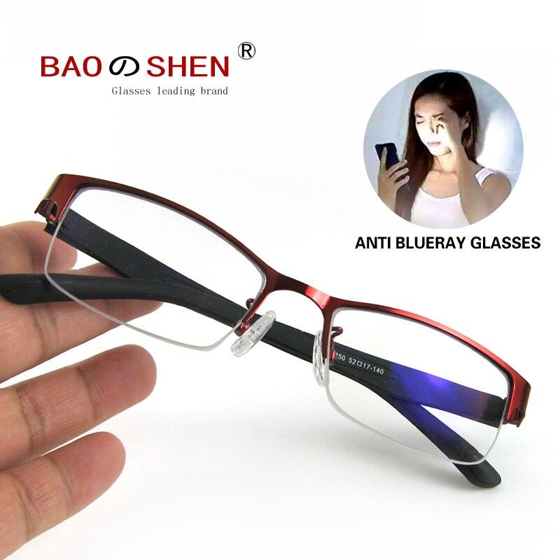 Non-Myopia HD Anti-Blu-ray Radiation Computer Goggles Anti-eye Fatigue Flat Zero Degree Lens Business Sven Half Frame Female