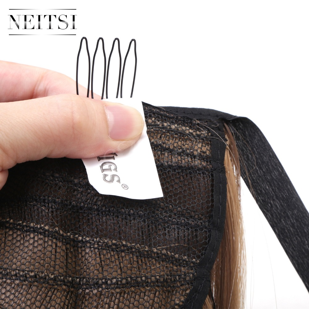 Купить с кэшбэком Neitsi Straight Long Clip In Hair Tail False Hair Ponytail Hairpiece With Hairpins Synthetic HairF10-22#