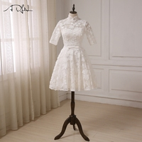 ADLN Cheap High Collar Lace Wedding Dresses Half Sleeves Knee Length A Line Bridal Gowns Vestido