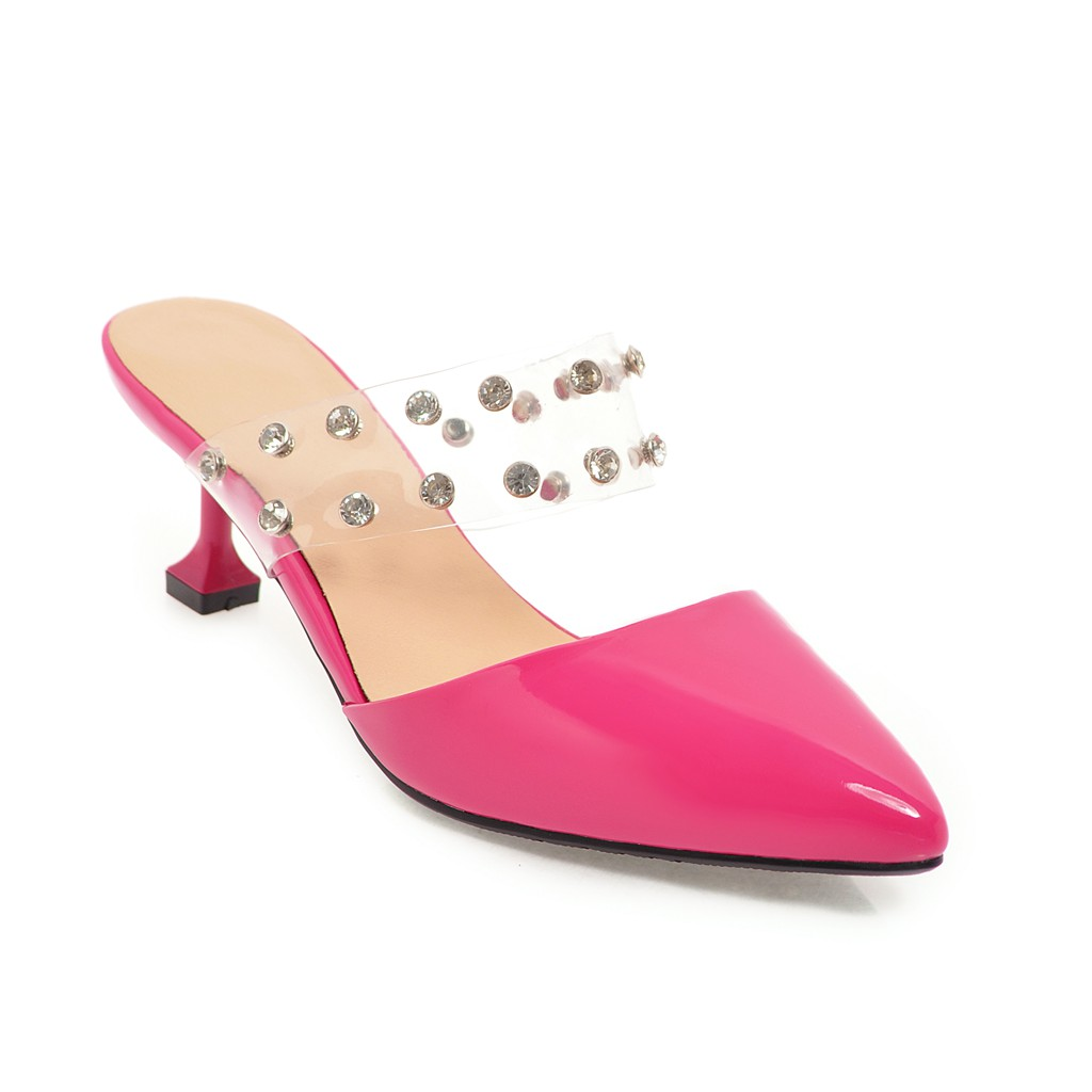 Femme argent Fait Bout rose Rouge Esrfiyfe Main Noir Pointu Talons Femmes Mules Mince Chaussures Diapositives Haute 2018 D'été blanc rouge Pantoufles Sexy UBB5xrn6wq