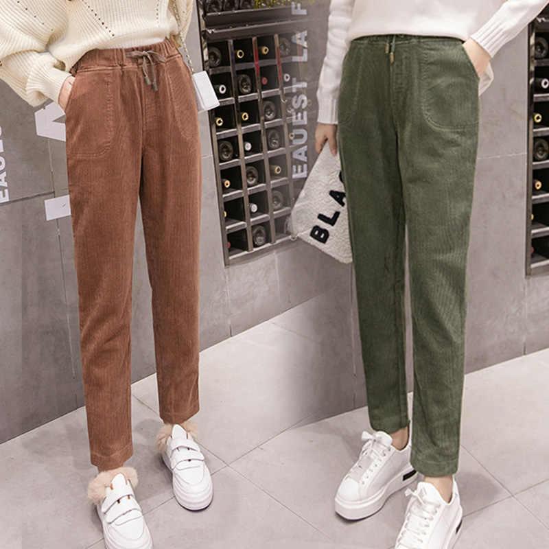 2ff1115cc33 Women Corduroy Pants 2018 Autumn Winter Vintage Solid Casual Warm Elastic  Waist Plus Size Harem Pant