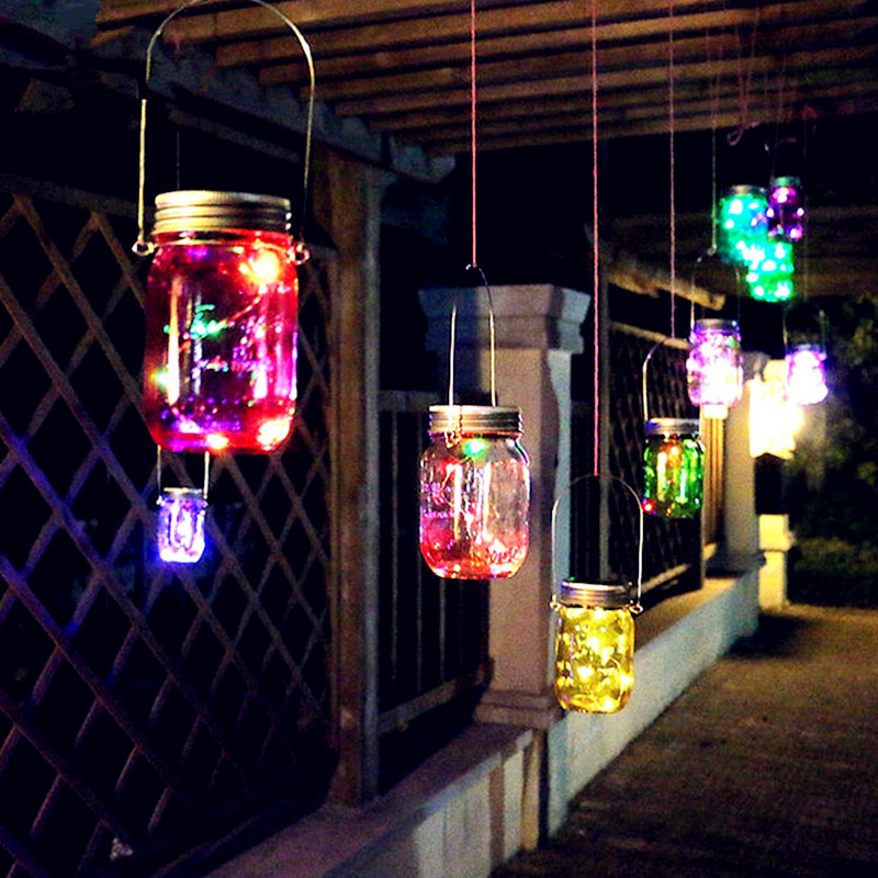 Led Solar Mason Jar Lid Lights Outdoor Waterproof Garden Wedding Party Christmas Decoration String Star Firefly Lids