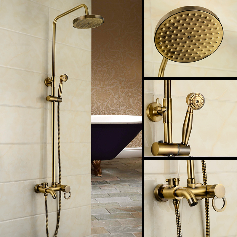 Dofaso retro bronze shower faucet prime quality Wall Mounted Shower Column Antique Brass Shower Single Handle Shower Mixer Tap