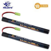 Melasta 2 pack 7 s 2/3a 8.4v 1600 mah 스틱 nimh airsoft 건 airsoft mini ak 시리즈 용 미니 타미야 커넥터가있는 배터리 팩