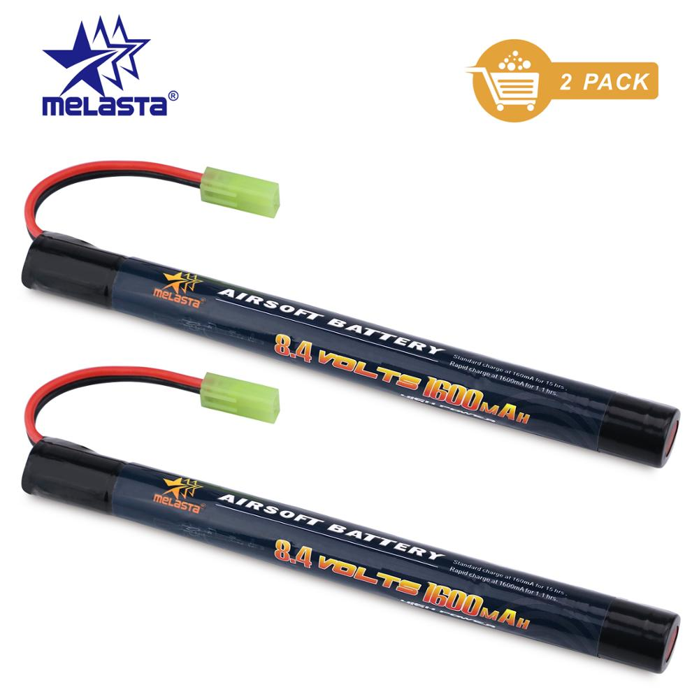 Melasta 2Pack 7S 2/3A 8.4v 1600mAh Stick NIMH Airsoft Guns Battery Pack with Mini Tamiya Connector for Airsoft Mini AK series image
