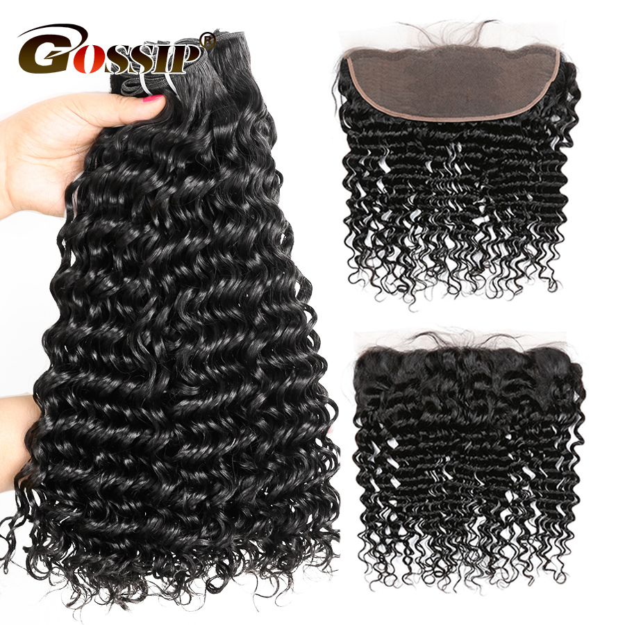 Brazilian Hair Weave Bundles With Frontal Deep Wave 3 Bundles With Ear To Ear 13 4