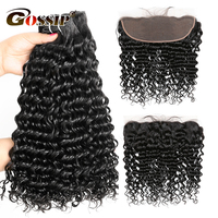 Brazilian Hair Weave Bundles With Frontal 2 Pieces Deep Wave Bundles With Ear To Ear 13*4 Lace Frontal Curly Human Hair Non Remy