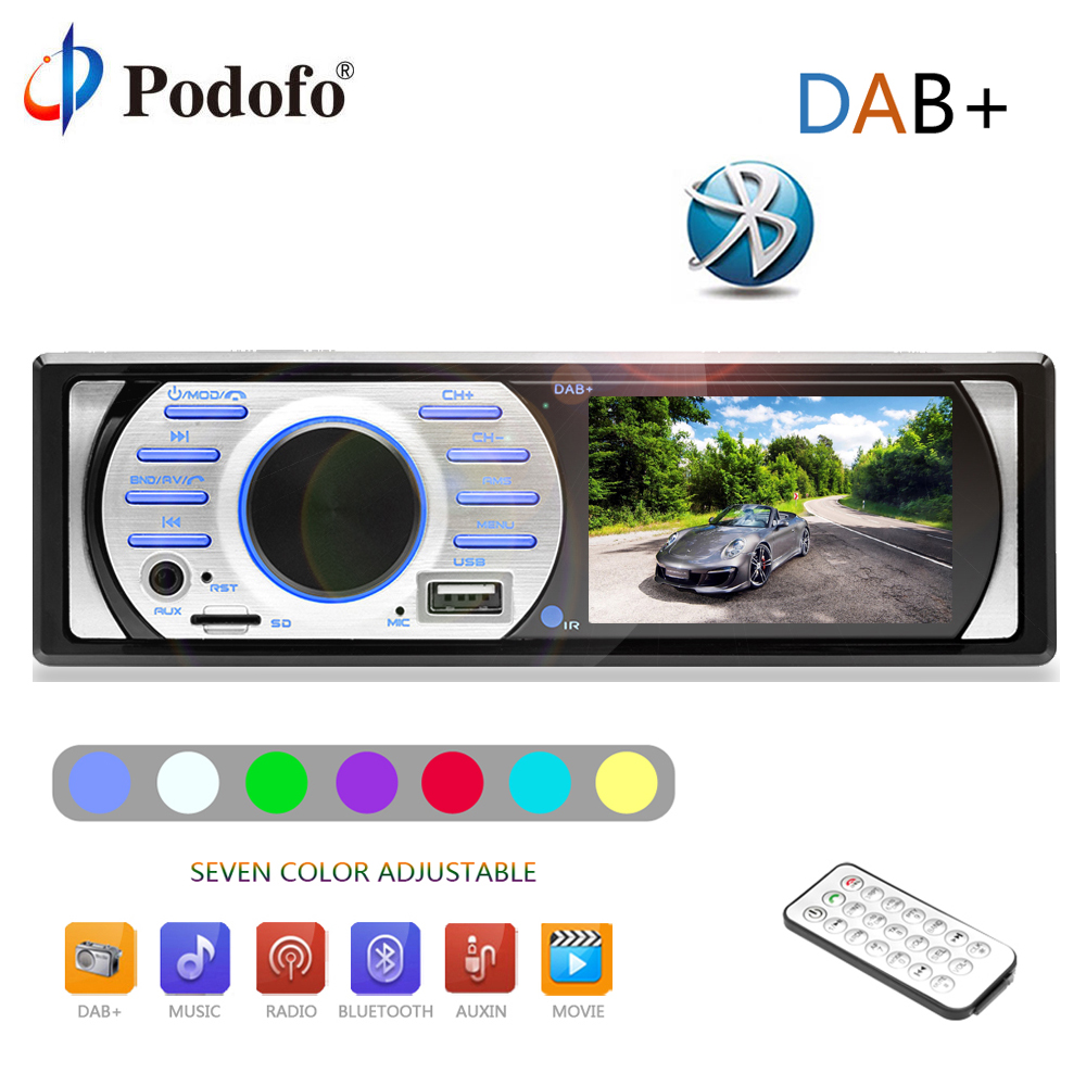 Podofo autoradio 12V Car Radio Bluetooth 1 din Car Audio Stereo Player Phone AUX-IN MP3 AM/FM/USB For phone 1 DIN Car Audio DAB+ 1 din car radio mp3 audio player bluetooth hands free fm stereo supports car holder usb2 0 sd aux audio playback usb charger 12v