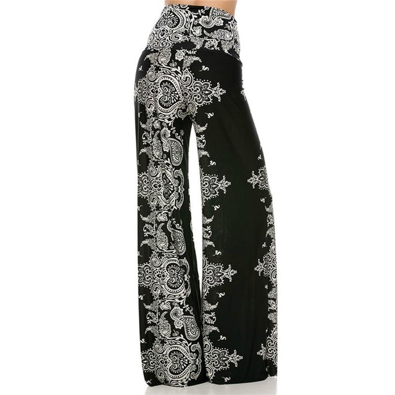 Printed Yoga Pants Sport Wear Leggings For Fitness Femme Yoga Clothing High Waist Wide Leg Women Pants boxed pleated button detail peg leg pants