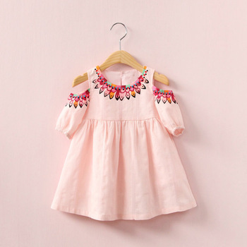 Girl strapless dress NEAT summer round neck flax girl clothes cute pure color girl dress small code baby 3 colors 1128 conjuntos casuales para niñas