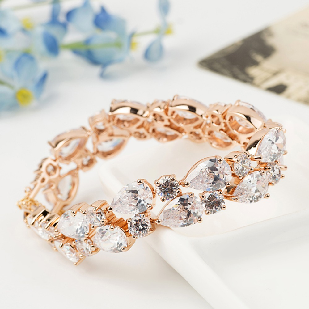 vintage plated rhodium rainbow previous rose gold product zircon bracelet