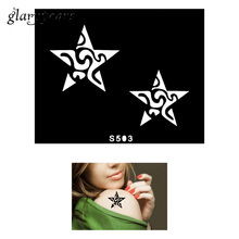1 Piece Small Henna Tattoo Stencil Body Art Star Paste Drawing Design For Women DIY Airbrush Painting Henna Tattoo Stencil S503