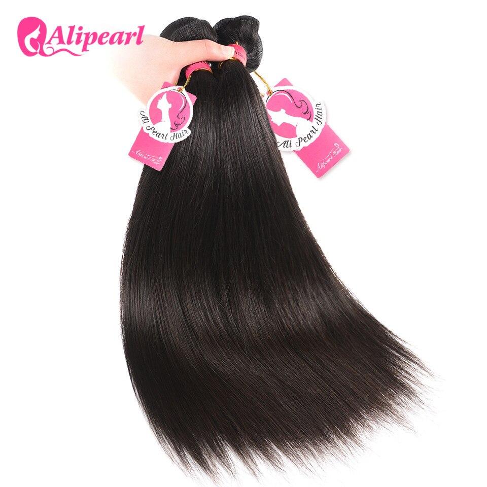 HTB1lIhZhiMnBKNjSZFzq6A qVXaI AliPearl Hair 100% Human Hair Bundles With Closure Brazilian Straight Hair Weave 3 Bundles Natural Black Remy Hair Extensions