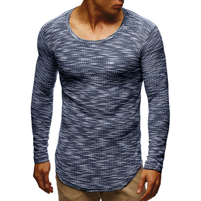 Прямая доставка 2019 Новая модная футболка мужская однотонная Приталенная футболка с длинными рукавами и круглым вырезом Мужская футболка Modis уличная Футболка мужская
