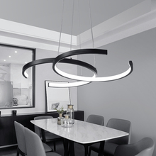 Black White Color Modern pendant lights for living room dining room 4/3/2/1 Circle Rings LED Lighting ceiling Lamp fixtures modern pendant lights for living room dining room circle rings 3 rings 4 rings acrylic aluminum body led ceiling lamp fixtures