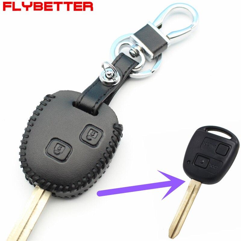 Flybetter Пояса из натуральной кожи стайлинга автомобилей 2 кнопки ключ чехол для Toyota Camry/RAV4/Corolla/Prado/Yaris m12