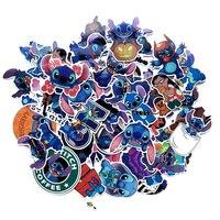 Disney stitch adesivos 52 pçs/lote sem repetição etiqueta pvc pegatinas tamanho misto 5-10cm dos desenhos animados adesivo autocollant mala stikers