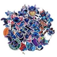 Disney stitch pegatinas 52 unids/lote no-pegatina repetida de PVC lápiz tamaño mixto 5-10cm de dibujos animados adesivo autocollant maleta pegatinas