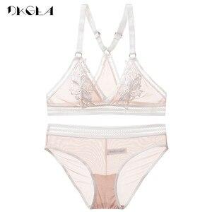 Image 4 - Novo conjunto de calcinha de sutiã transparente lingerie feminina rendas bordado sutiã sem fio colete sutiã y linha correias sexy conjuntos de roupa interior
