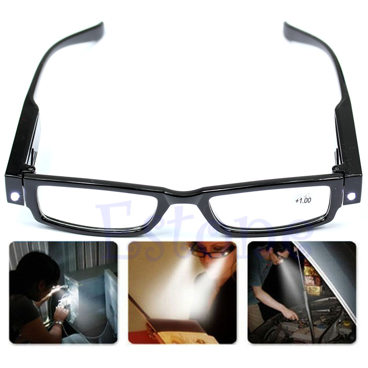 Multi Strength LED Reading Glasses Eyeglass Spectacle Diopter Magnifier Light UP +1.0+4.0