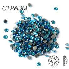 All Sizes 2058HF Aquamarine Hot Fix Rhinestones Crystals Flatback Strass DIY Dress Garment Dance Costum Decoration
